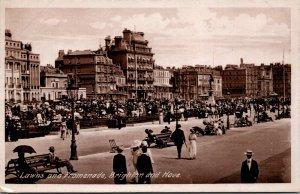 UK BRIGHTON Lawns and Promenade Hove AWW BLACK & WHITE CIRCA 1910 POSTCARD