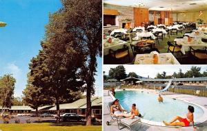 Gorham NH~Motor Inn~Restaurant Interior~Bathing Beauty Motel Pool~1960s Cars
