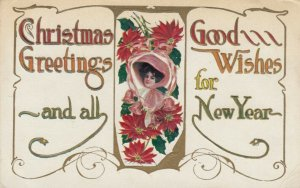 CHRISTMAS Greetings, PU-1913; Woman in pink hat & bells, poinsettias