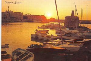 B84062 sunset at kyrenia harbour cyprus