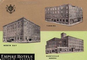 EMPIRE HOTELS, Ontario, 50-60s; North Bay , Timmins , Huntsville