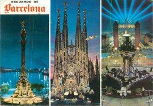 Postcard Spain Barcelona Colon monument Sagrada Familia Plaza Espana