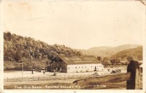 Renfro Valley Kentucky~Old Barn Home of Barn Dance~Men Walking~40s Cars~RPPC