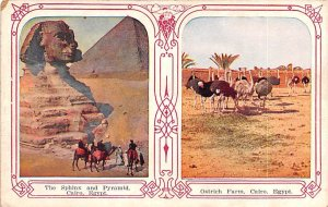 Sphinx and Pyramid Cairo Egypt, Egypte, Africa Writing on back