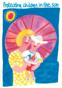 Protecting children in the sun advertising postcard
