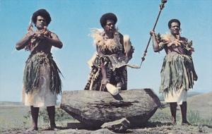FIJI, 1940-1960's; Beating The Lali, The Wooden Drum