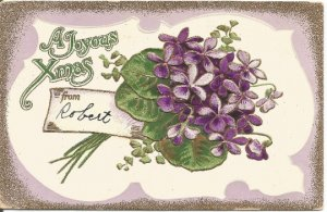 Bouquet of Purple Violets on a white and Royal Purple Background A Joyous Xmas