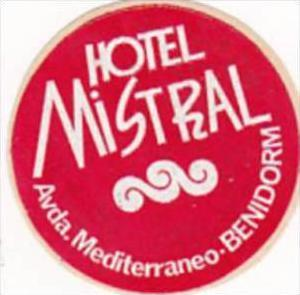 SPAIN BENIDORM HOTEL MISTRAL VINTAGE LUGGAGE LABEL