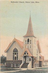H11/ Heron Lake Minnesota Postcard 1910 Methodist Church Building