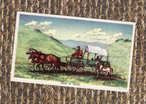 Mode of Travel, Covered Wagon, Postcard, Native American Indian Family, Horses