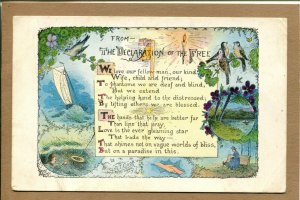 Postcard The Declaration of the Free Poem Sailboat Robins 1170