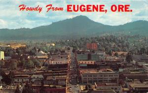 Eugene Oregon~Aerial View Looking South from Skinners Butte~Heilig Banner~1950s