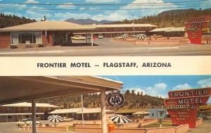 Flagstaff Arizona~Frontier Motel~Route 66~Neon Sign~Pool~1950s Cars~Postcard