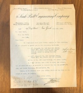 Link-Belt Engineering Co - 1903 - LETTER - INVOICE - RARE