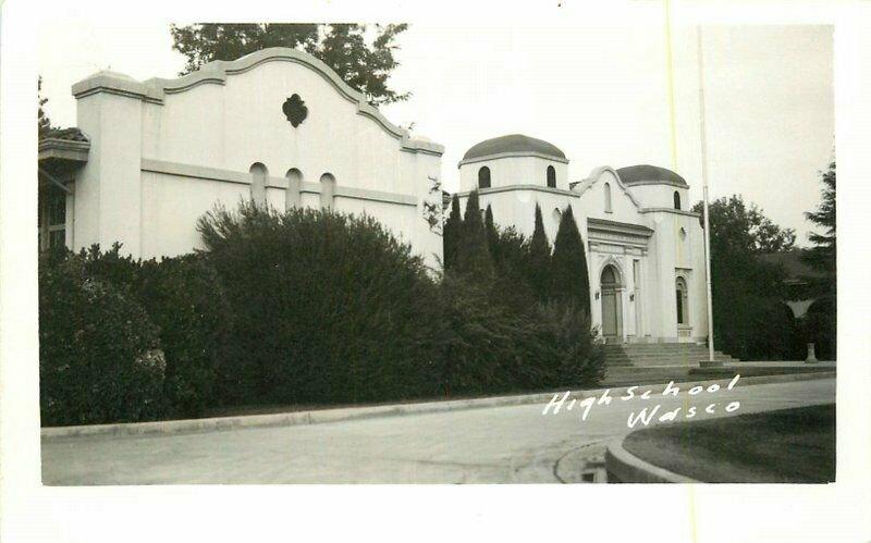 High School Kern California Wasco RPPC Photo Postcard 20-12934