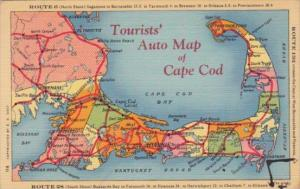 Tourists' Auto Map Of Cape Cod Massachusetts Showing Route 6 and Route 28 194...