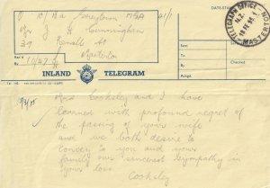 Masterton Telegraph Office New Zealand 1950s Telegram