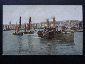 Kent RAMSGATE HARBOUR Paddle Steamer Boats / Tug - Old Postcard by Ross Series
