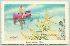 Kentucky State Flower~Woman Canoes Past Goldenrod on Bank~1974 Ken Haag Artist