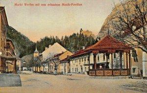 MARKT WERFEN AUSTRIA~mit neu ERBAUTEM MUSIK PAVILLON~1911 TINTED PHOTO POSTCARD