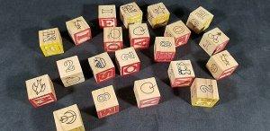 Wood Blocks Alphabet Numbers Animals Vintage (21) Wood Blocks  MrSTUFF B8