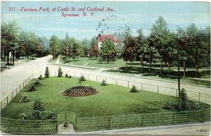Furman Park Castle Street and Cortland Avenue Syracuse NY New York pm 1912 - DB
