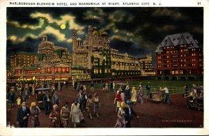 New Jersey Atlantic City The Marlborough-Blenheim Hotel and Boardwalk By Nigh...
