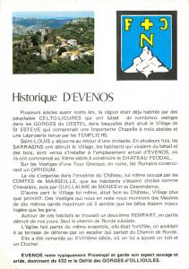 Linen 1990 Postcard, Historique D'Evenis, France, Local History Card 21V