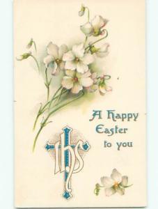 Pre-Linen easter religious JESUS CROSS WITH WHITE FLOWERS J2191