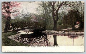 Davenport IA~Pink Buds on Tree Near Central Park Rustic Footbridge~1908 Postcard