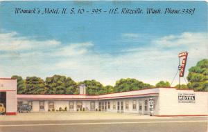 C19/ Ritzville Washington WA Postcard 1956 Womack's Motel Roadside Linen