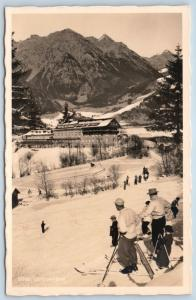 Postcard Germany Bavaria Hindeland Oberdorf Luitpold Bad Skiing RPPC Photo K19