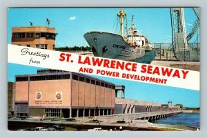 St Lawrence Seaway NY, Banner Greetings, Ship In Lock, Chrome New York Postcard