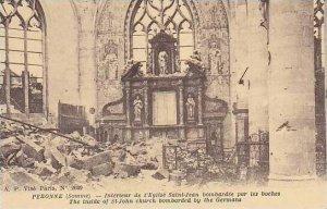 France Peronne Interieur de l'Eglise Saint Jean bombardee par les boches
