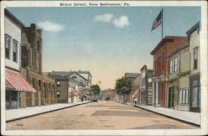 New Bethlehem PA Broad St. c1920 Postcard rpx