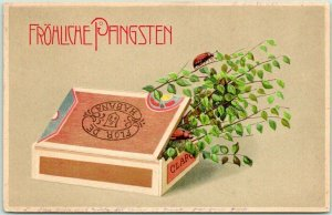 1908 Postally-Used GERMAN Embossed Postcard FROHLICHE PANGSTEN Cigar Box / Bugs