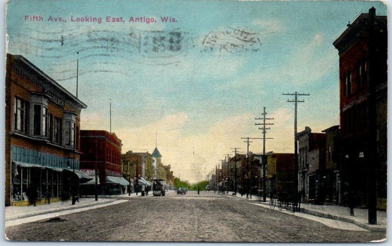 Antigo, Wisconsin Postcard Fifth Avenue, Looking East Downtown Scene 1913