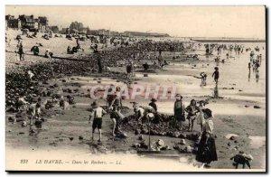 Le Havre Old Postcard On the rocks (children)
