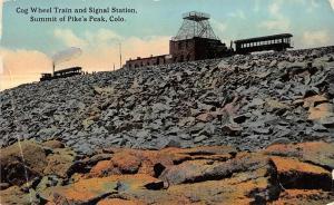 Pike's Peak Colorado c1910 Postcard Cog Wheel Train & Signal Station
