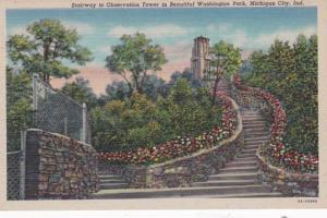 Indiana Michigan City Stairway To Observation Tower In Washington Park 1954 C...