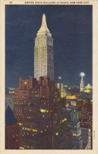 Empire State Building At Night New York City 1940 Curteich
