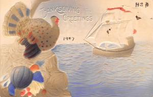 Thanksgiving~Turkey on Plymouth Rock~Mayflower Arrives~Purple Orange~Airbrushed