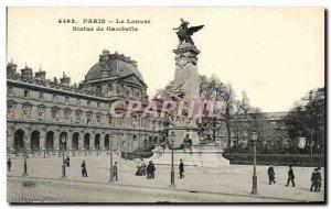 Old Postcard Paris Louvre Statue Gambetta