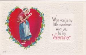 Valentine's Day Old Woman Reading Card