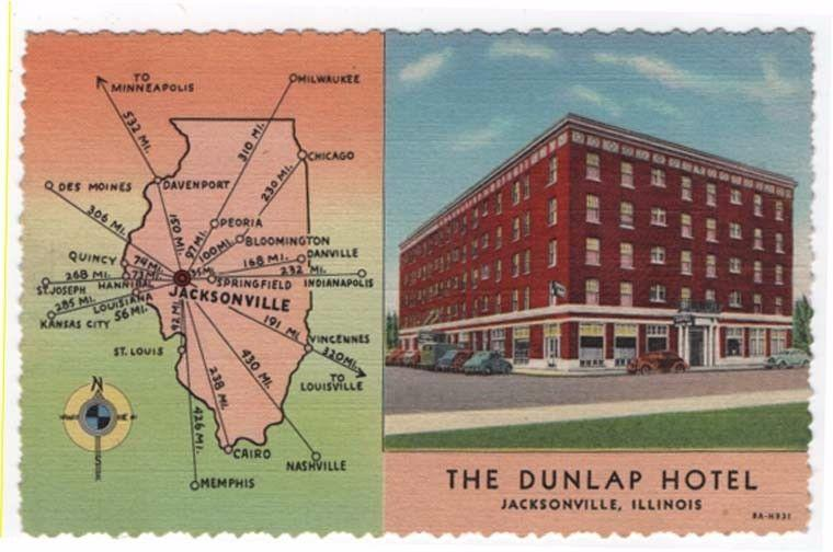 Jacksonville, Illinois, View of The Dunlap Hotel & Map, 1946