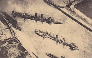 Museum, The Blockships (German Aerial Photograph), Zeebrugge, Belgium, 1900-1...