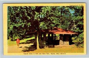 Dayton, OH-Ohio, Hills & Dales Park, Camp, Shelter, Chrome Postcard