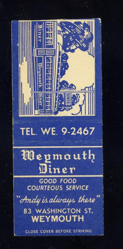 Weymouth, Massachusetts/Mass/MA Matchcover, Weymouth Diner