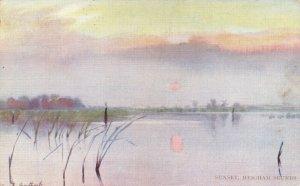 Vintage 1908 Art Postcard, Sunset, Heigham Sounds, Norfolk by F. Southgate DO5