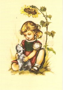 Hilde. Little  girl with her pet Lovely modern German PC. Continental size